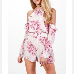 White and pink floral romper